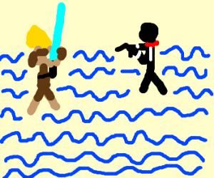 luke skywalker vs. 007 in the ocean