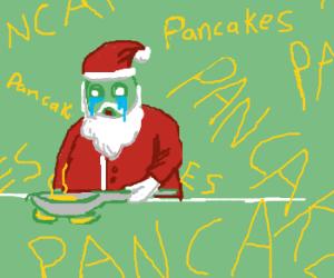 Santa Claus Cooks Pancakes!