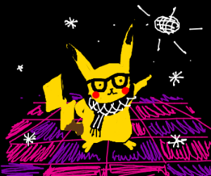 Hipster Pikachu at the disco