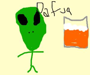 aliens wonder how to drink huge beer