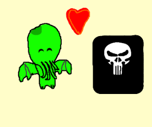 Baby Cthulhu is a fan of the Punisher.