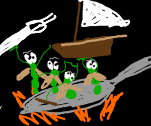Bugs in pan attempt to make a sailboat