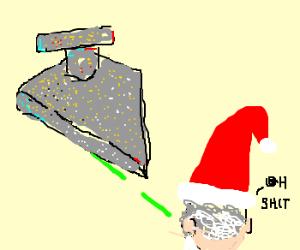 Santa attacked by a star destoryer