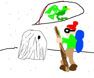 Non-legged Yeti ghost seeks green bird