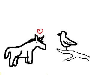 The unicorn has a crush on the bird