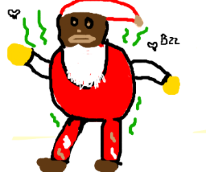 Black santa doesn't care about hygiene