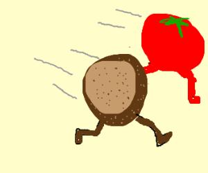 Potato and tomato running from something