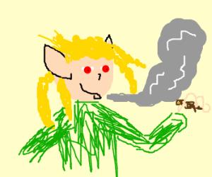 Jamaican elf blazing up.