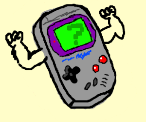 gameboy with arms and a question mark