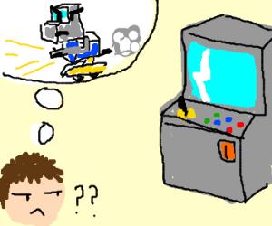 This arcade machine may be a transformer