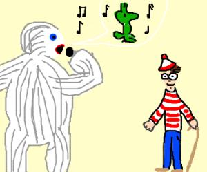 Yeti sings Green Bird to Waldoish guy