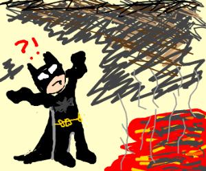 Batman surprised by lava