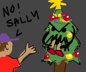 Jack watches xmas tree consume Sally