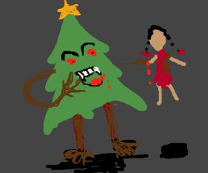 Evil christmas tree eats sally!