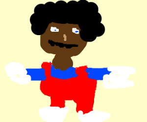 Black Mario with salad on head