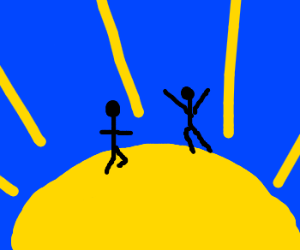 people standing on the sun