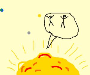 2 guys falling into purgatories sun.