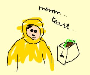 hazmatsuited man makes radioactive toast