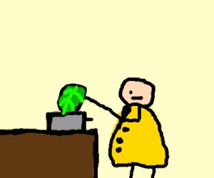 crazy guy in raincoat toasting lettuce