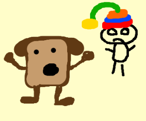 bread man yelling at guy with bad hat