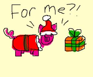 Santa Pig gets a present