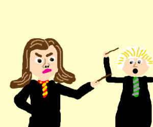 Hermione beats Draco to a pulp