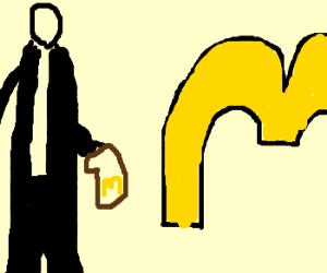 Horribly drawn slenderman next to mcdon