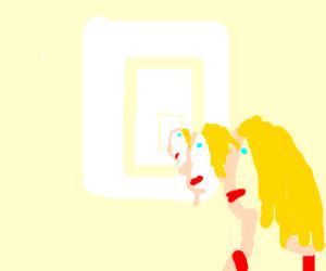 Blonde lady painting self-portrait