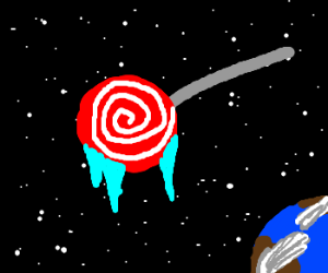 The space station is a frozen lollipop.
