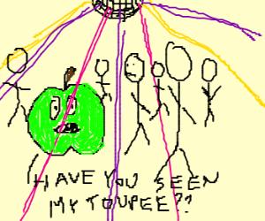 Green apple loses his hair at the disco.