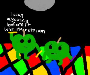 apple hipsters dancing under disco floor