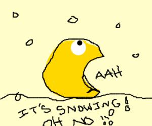 Pac man disturbed by snow