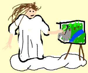 God paints according to Bob Ross