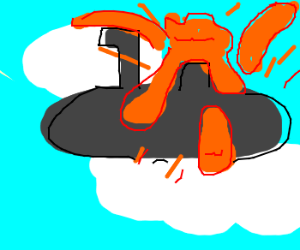a flying submarine erupts