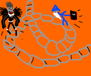 Wizard climbing a stair with a deathnote