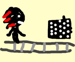 shadow plays chess on a conveyor belt