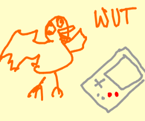 A bird is confused by a gameboy
