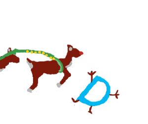 Rudolph runs over Drawception's logo