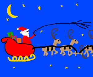 Santa gets a flat