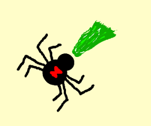 Spider vomits bile