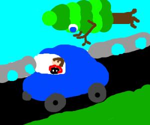 Tree-man flies after blue car