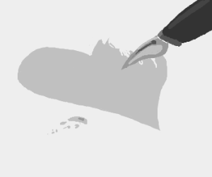 drawing a heart with a fountain pen