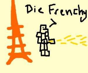 Le Gundam de France combat a feu.