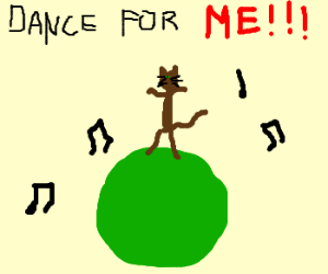 A cat is forced to dance on a ball.