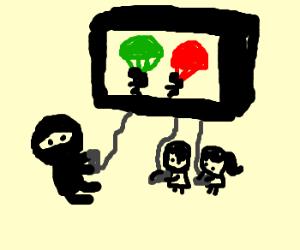 Ninja and children play parachute game