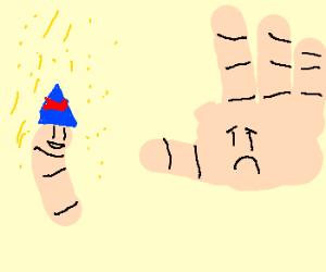 Lone finger celebrates divorce from body