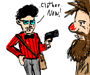 Hipster holds bearded man at gunpoint.