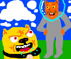 Evil yellow pug hates spacecatman hybrid
