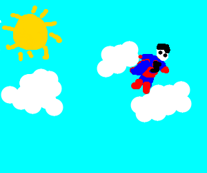 Superman floating in the clouds on a sunny day