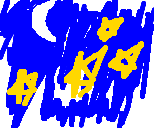 A crescent moon and four stars